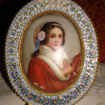 Micromosaic Frame with Handpainted Ceramic Miniature - Fine Jewelry