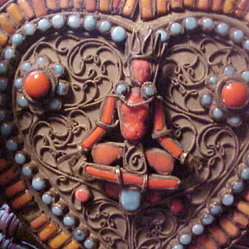 Nepal Nepalese Gau or Tibetan ? Turquoise Coral Beaded Jewelry Box - Folk Art