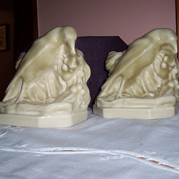 Rookwood Bookends with Engineering Society Logo - Art Pottery