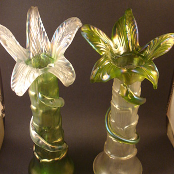 Kralik Pigeon Pair Iridescent Palm Trees - Art Glass