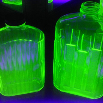 2 Green Uranium Glass Refrigerator Water Bottles - Glassware