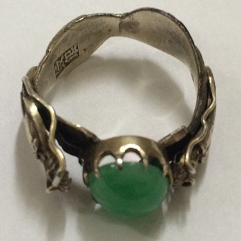 Chinese Silver and Jade Double Dragon Ring