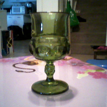 set of 8 green glass goblets