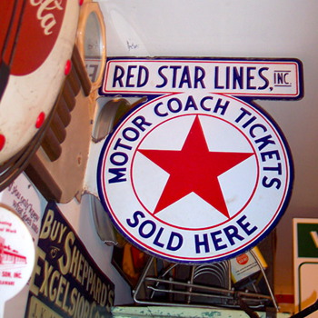 RED STAR MOTOR COACH PORCELAIN SIGN