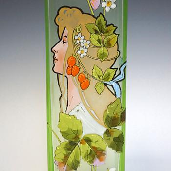 1900s Karl Pohl (Novy Bor) Art Nouveau Uranium Art Glass Vase w/ Hand-enameled Mucha-type Maiden - Art Nouveau