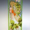 1900s Karl Pohl (Novy Bor) Art Nouveau Uranium Art Glass Vase w/ Hand-enameled Mucha-type Maiden