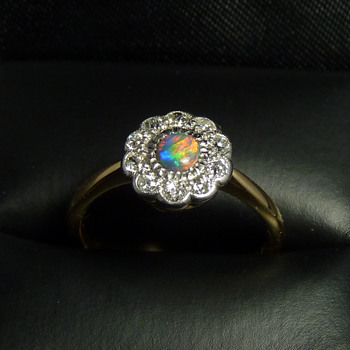 Edwardian Black Opal & Diamond Ring in Platinum & Gold - Fine Jewelry