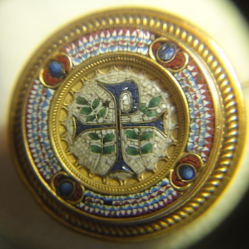CHI RHO MICRO MOSAIC BROOCH