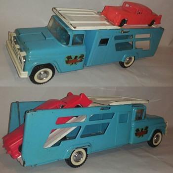 "Recent find. Buddy L ""Daytona"" Race car hauler.... @@"