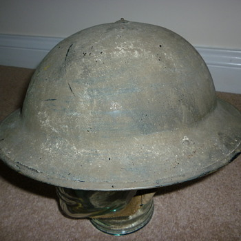 British WW11 Royal Air Force cammo painted helmet - Military and Wartime