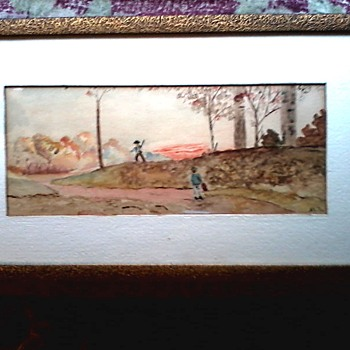 "Folk Art Watercolor Landscape / 11"" x 19"" Framed / Circa 19th Century"