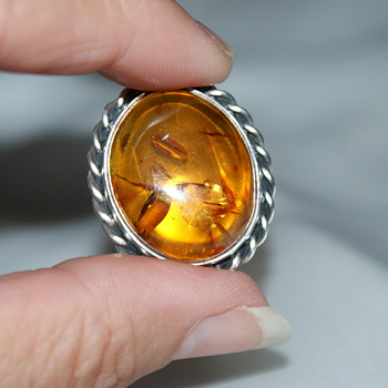 Large Amber and Sterling Ring - Fine Jewelry