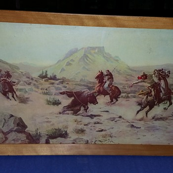 "Art from C.M. Russell,  western times, 1800s , ""CAPTURING THE GRIZZLY  and TAMING THE WILD HORSE  - Visual Art"