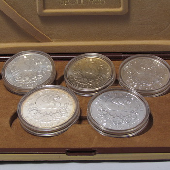 Silver coins sale,1986 Seoul Asian Olympic Games 4 Silver 90% coin Set - World Coins