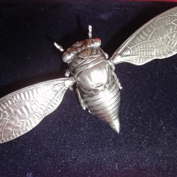"Art Deco/Art Nouveau ""Flying"" Sterling Silver Cicada Brooch"