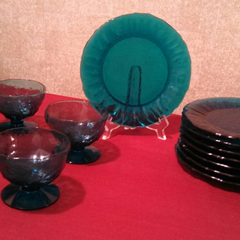 "Seneca Glass co. Peacock ""Driftwood"" Plates/sherberts - Glassware"