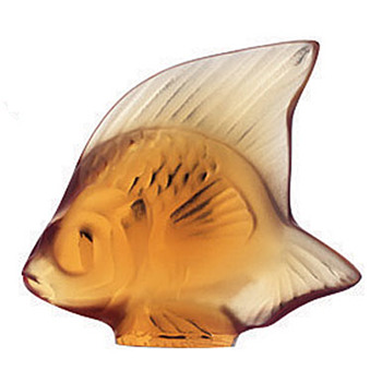 LALIQUE ANGEL FISH: YELLOW/GOLD/AMBER - Art Deco
