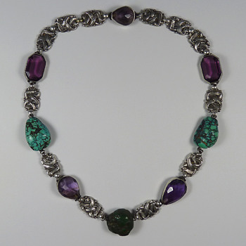 Arts & Crafts Silver Amethyst & Turquoise Necklace attr. Amy Sandheim - Arts and Crafts
