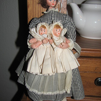 Antique Nursemaid or Nanny with twins. - Dolls