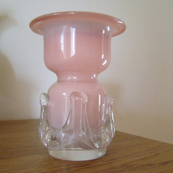 Pink glass candle holder - Art Glass