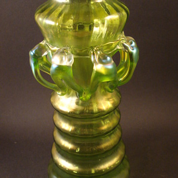 Green Iridescent Vase with applied glass loops? - Art Glass