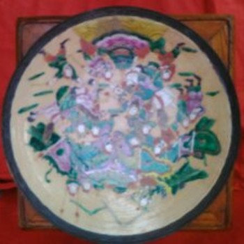 Large Antique Chinese Qing crackle glaze porcelain hand painted enamels charger