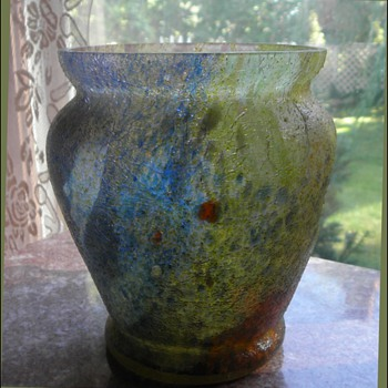 "A Czech ""Sandpaper"" Vase - Up Close & yet Far, Far Away - Art Glass"