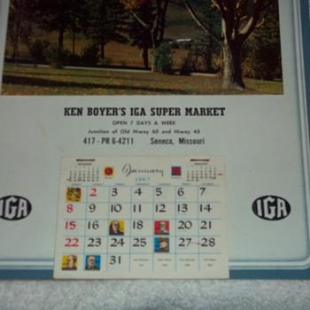 1967 KEN BOYER GROCERY CALENDAR