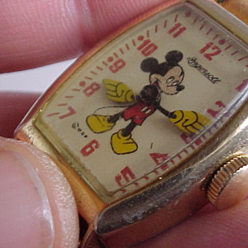 1947 Gold Plated Mickey Mouse Watch - Wristwatches