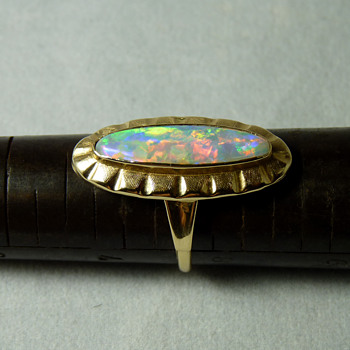 A 1960's Opal & 14k Gold Cocktail Ring (Retro Style)