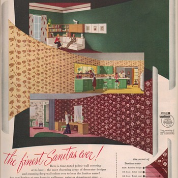 1950 Sanitas Fabric Wallpaper Advertisement - Advertising