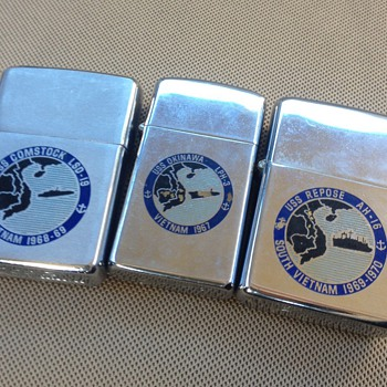 Vintage Vietnam Era Zippo Lighters - Tobacciana