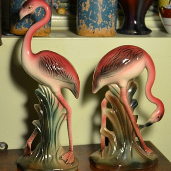 Pink Flamingos - Ceramics by ???-Gir?, California. - Animals