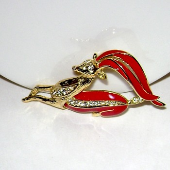 Gazelle Enamel Brooch - Costume Jewelry
