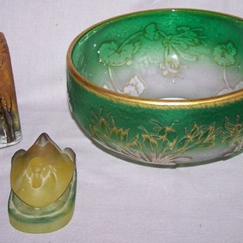 Daum Nancy w/ signed winter scene vase and Green bowl