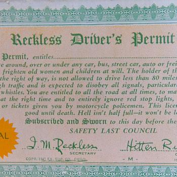 1941 Driver's Permit - Postcards