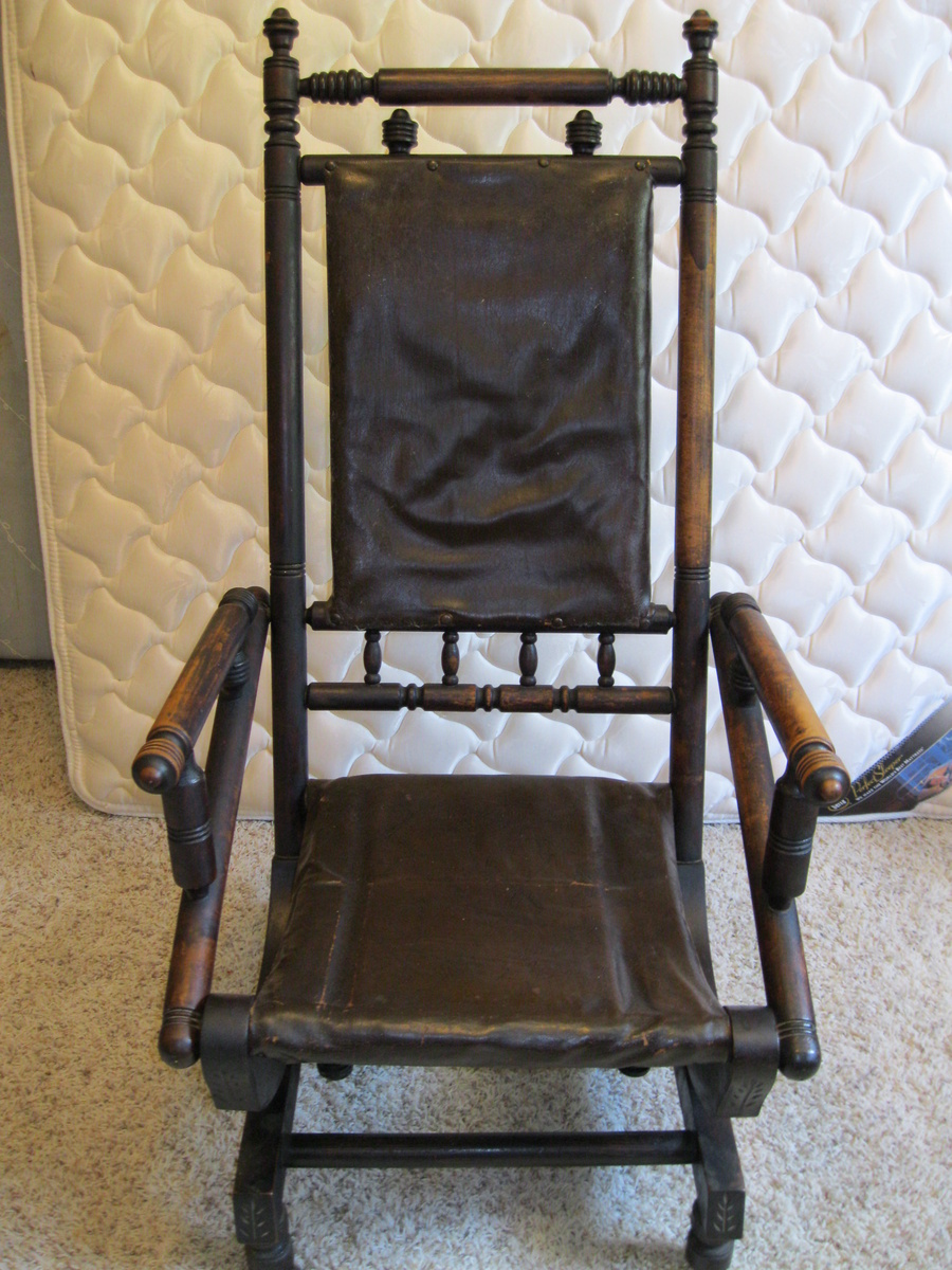 Antique rocking chair with leather seat - Antique Rocking Chair With Leather Seat