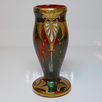 Early Bohemian enamel decorated Vase, Unknown Maker, late 1800 - Art Glass
