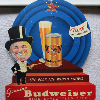 "BUDWEISER ""NOW IN CANS TOO"" SIGN - Signs"