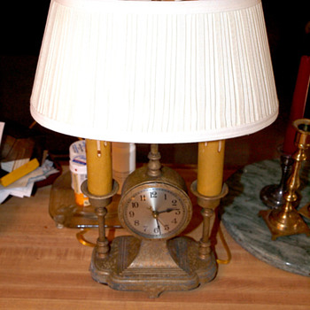 Art Deco Clock Lamp Combination
