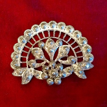 Old white Metal Brooch  - Victorian Era