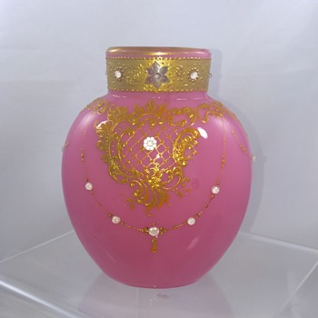 "Early Loetz Pink Opale  Jeweled Cased Vase 4.75"" H"