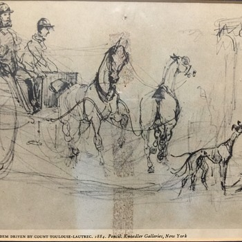 Plate 4 Tandem driven By Count Toulouse-Lautrec, 1884. Pencil