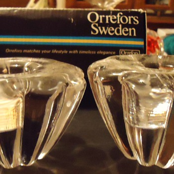 Orrefors Sweden Candle Holders,  I found the box !