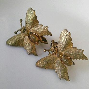 Miriam Haskell butterfly earrings and hat pin - Costume Jewelry