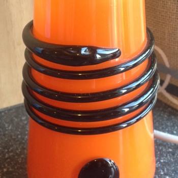 Kralik colbalt blue and orange tango vase. - Art Glass