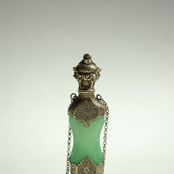 Victorian  Chatelaine  Scent Bottle with Sterling Cap - Art Glass