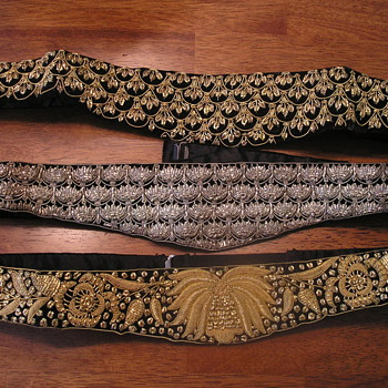 Grandmas Ornate dress belts, gold and silver