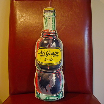 1940s Nu Grape Bottle Sign
