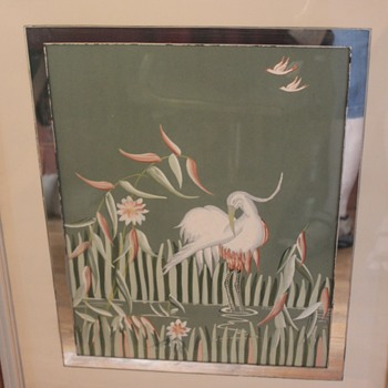 Heron or Crane hand painted  and framed - Visual Art
